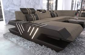 Details About Wohnlandschaft Polstersofa Couch Venedig Xxl Ottomane Stoff Led Beleuchtung Usb