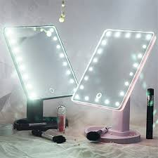 touch screen 16 led light mirror adjule 360 degree rotation makeup vanity mirror cosmetic table desktop