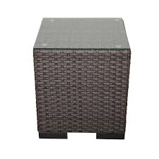atlantic bellagio grey wicker patio side table