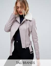 new look tall faux leather shearling collar biker jacket i82h9 for women