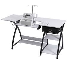 costway sewing craft table folding computer desk adjule platform w drawer shleves 0