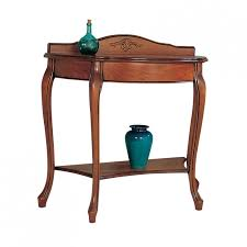 cherry large half round console table