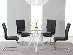 berlin round glass dining set with 4 chairs chair colour black