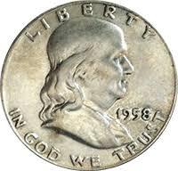 1960 Half Dollar Value Chart 1958 D Ben Franklin Half Dollar Value Cointrackers