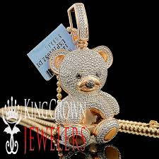 details about real diamond teddy bear pendant las 14k rose gold finish round pave 3d charm
