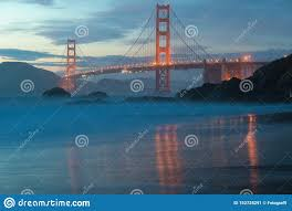 Blue Light In San Francisco Sky Classic Panoramic View Of Famous Golden Gate Bridge Seen