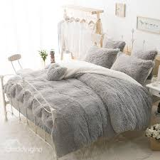 solid gray and white color blocking fluffy 4 piece bedding sets duvet cover