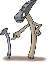 hammer and nails logo. driving nails into wood and/or removing (claw hammer) hammer and logo n