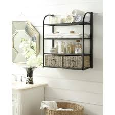 w storage rack with two baskets in brown