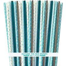 Light Blue Straws Light Blue And Silver Paper Straws Chevron Polka Dot Foil 7 75 Inches 125 Pack Outside The Box Papers Brand