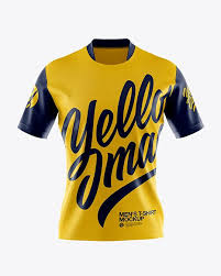 You can place your logo design or branding design elements on a jersey, left and right shorts, both socks and change the color easily. Men S T Shirt Mockup Front View In Apparel Mockups On Yellow Images Object Mockups Shirt Mockup Clothing Mockup Tshirt Mockup