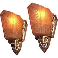 art deco wall sconces awesome pair of geometric french 1 a kind nj in 16