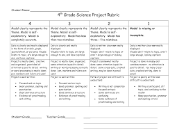 4th Grade Science Project Rubric 4th Grade Science