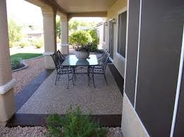 Beautiful pebble stone coating at modern patio design Flooring
