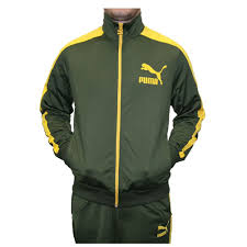 puma mens tracksuit. puma mens tricot heroes t7 tracksuit in forest night-spectra yellow (557897-03) t
