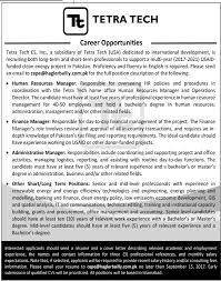 Hr Manager, Finance Manager, Admin Manager Jobs In Tetra Tech 2017