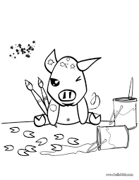 Painting Pig Coloring Pages Hellokids Com Drawing And Painting And Coloring Games