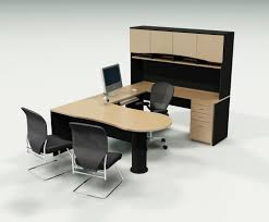 futuristic office furniture. Modern Futuristic Furniture Fetures Wooden Office On The White Ceramics Floor With Wall Along Black Chair F