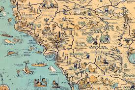 whimsical old map depicts california at a time when 'hollywood was