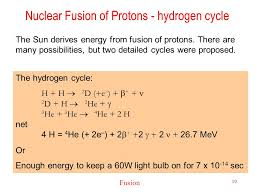 nuclear fusion of protons hydrogen cycle