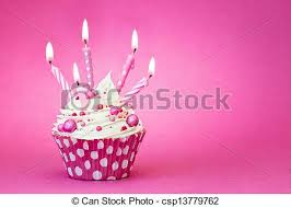 Pink Birthday Cupcake Cupcake Decorated With Pink Candles