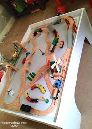 wooden toy train track layouts thomas train table track plans
