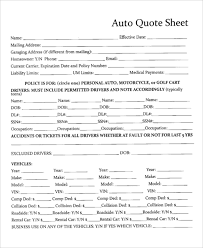 auto quote sheet template