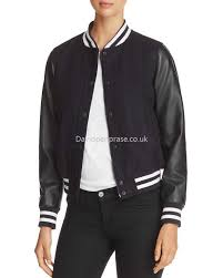 women s mixed media levi s classic faux leather sleeve varsity jacket in navy blue ch9706