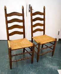 set 4 oak ladder back rush seat chairs