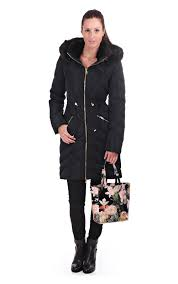 ted baker womens holoww long down filled parka black