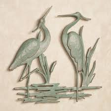 amazing bold cute couple heron outdoor wall art metal stainless steel grass cream wall colours modern