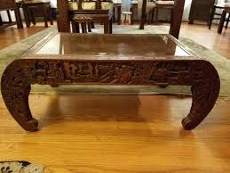asian carved coffee table antique oriental round coffee table