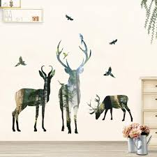 deer wall decal elk art sticker pvc self adhesive forest woodland wall decorative sticker for living room bedroom removable vinyl sticker wall art vinyl
