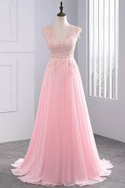 Elegant Long Gown Design 2018 Janevini 2018 Elegant Chiffon Long Prom Dresses For Women V Neck Lace Appliques Sleeveless Robe De Bal Longue Sweep Train Formal Party Gowns