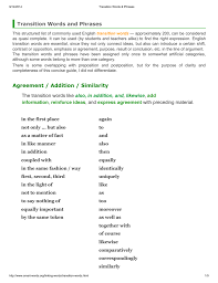 Transition Words And Phrases Agreement Addition Similarity