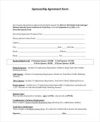 sponsorship agreement 7 sponsorship agreement form samples free sample example