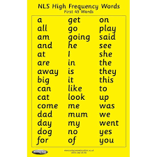 High Frequency Word Chart First 45 Words Chart