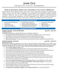 Food Beverage Manager Resume Example Restaurant Bar Sales