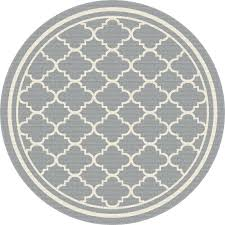 8 round gray moroccan tile indoor outdoor rug garden city rc round gray rug solid gray round grey rug