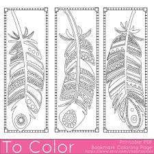 Small Picture Feathers Coloring Page Bookmarks this is a printable PDF