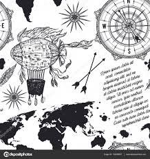 бесшовный фон с компас карта мира дирижабль и роза ветров ретро