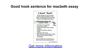 good hook sentence for macbeth essay google docs