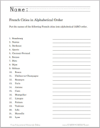 French Cities in ABC Order Worksheet | Student Handouts