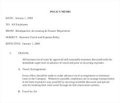 Memo Example For Business Business Travel Expense Policy Memo Example Download All