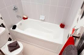left hand alcove acrylic non whirpool bathtub in white