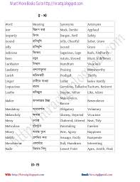 List Of English Words With Synonyms And Antonyms. Worksheet ...