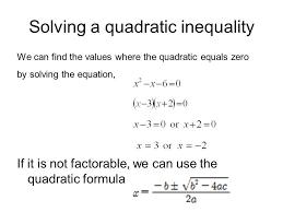 solving a quadratic inequality word problem worksheet questions ppt