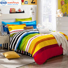 rainbow color stripes boys bedding set for single double bed flat bedsheet
