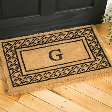 appealing monogram doormat for your entrance floor decor awesome natural coir monogram doormat with black