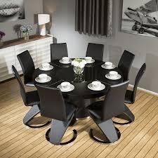 modern large round black oak dining table 8 black z shape chairs 6736